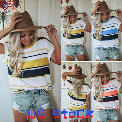 Women Stripe T-Shirts Color Block Blouse Tops Short Sleeve Tee Casual Loose US Block Short Sleeve Tee