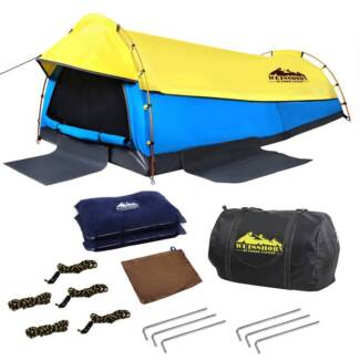 Double Canvas Camping Swags with Bag Yellow & Blue South Morang Whittlesea Area Preview