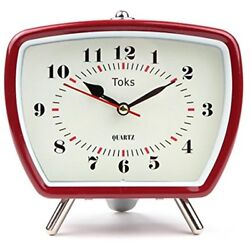 Retro Vintage Inspired Battery Analog Alarm Clock Desk Bedside Table Classic Red
