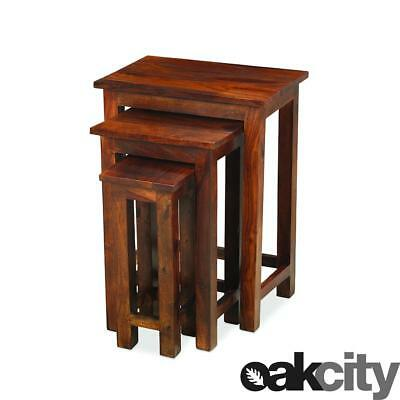 Maharajah Indian Rosewood Tall Nest Of Tables - Solid Wood Stained Waxed Finish
