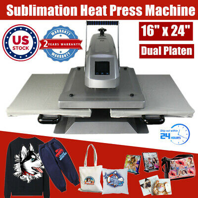 Us Stock Qomolangma 16 X 24 Manual Dual Platen Sublimation Heat Press Machine