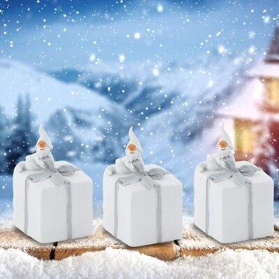 3x Weihnacht Mann Figuren Winter Tisch Dekoration Geschenke Glitzer Schleifen