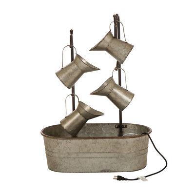 "Glitzhome 33.25""H Farmhouse Metal Rustic Pitchers Top Fountain Garden Decor"