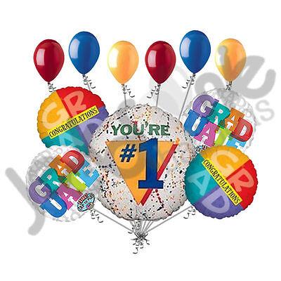 Paint Splatter Party Supplies (11 pc Paint Splatter Punk You're #1 Graduate Balloon Bouquet Party)
