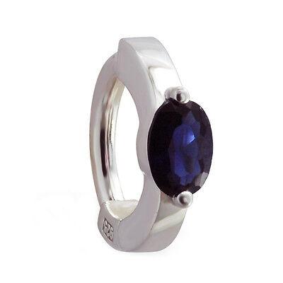 Sapphire Blue CZ TummyToys 1/2 bezel set CZ Belly Button Ring Silver (Blue Sapphire Silver Belly Button Ring)