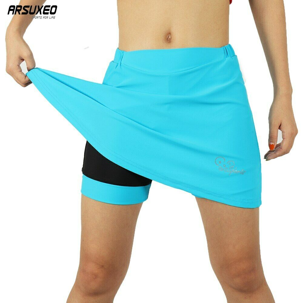 Women Cycling Skirt Shorts 2-in-1 With Gel Padded Liner Bike