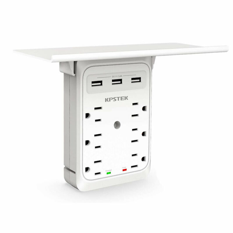 Multi-Function Wall Plug Socket with Shelf Surge Protector 6 Outlet 3 USB Ports