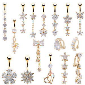 18K-Gold-Plated-Clear-Crystal-Sexy-Navel-Bar-Button-Ring-Belly-Piercing-Jewelry