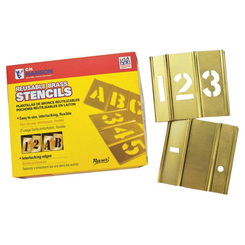 REESE INTERLOCKING STENCILS 10006 Stencil,Numbers,Brass,1/2in.W x 1/2in.H