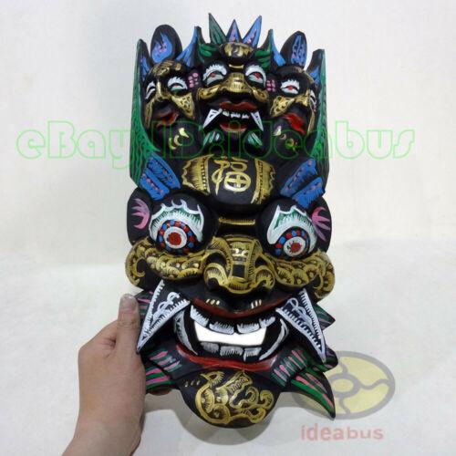 "China Folk Art Wood Hand Carved Painted NUO MASK Walldecor-PanGu Deity 15.7""tall"
