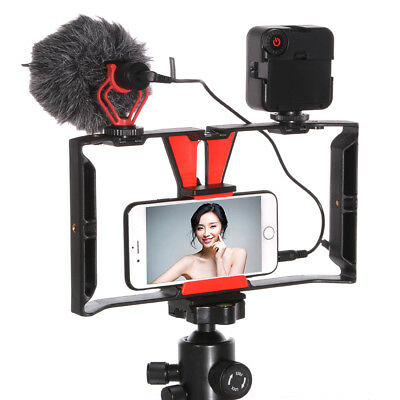 Cell phone Video Camera Stabilizer Cage Rig + 49 Led Light + BOYA Microphone Mic Cell Phone Led Light