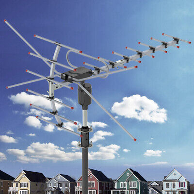 Digital Antenna Amplifier (200Miles 1080P Outdoor Amplified HDTV Digital TV Antenna Long Range HD VHF/UHF )