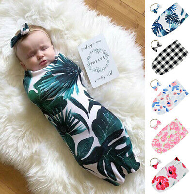 US Newborn Baby Swaddle Wrap Blanket Sleeping Bag Sleep Headband Sack Bedding