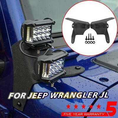 For JEEP Wrangler JL 2018 2019 2x A-Pillar Dual LED Light Pods Mounting Brackets