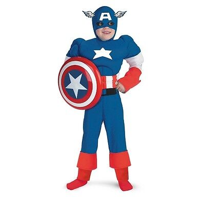Captain America Classic Muscle Child Costume 7-8 Marvel Comics Disguise 5017 NEW ()