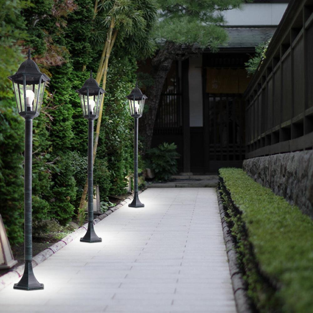 3x LED Außen Stand Leuchten Veranda Laternen ALU Garten Weg Glas Steh Lampen