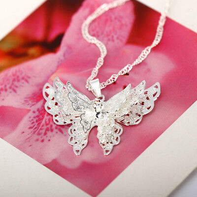 3 Layer Butterfly 925 Sterling Silver Plated Necklace Cute Animal -