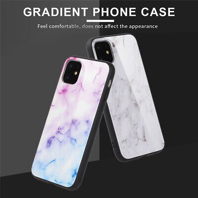 For iPhone 11 Pro Max XR 8 Plus Shockproof Marble Tempered Glass Slim Case Cover