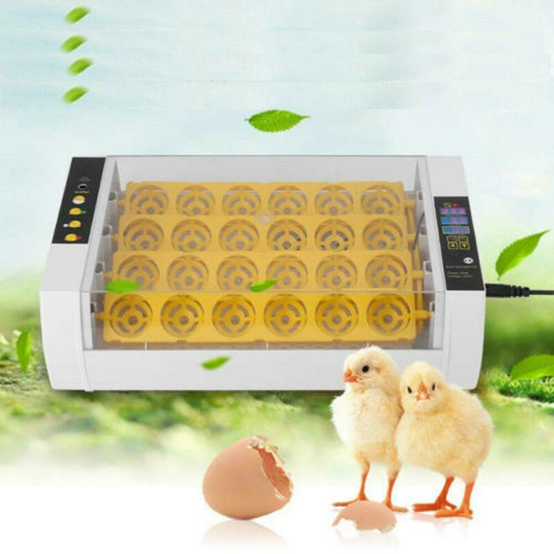 New 24Eggs Automatic Egg Incubator Turner Chicken Duck Quail Goose Heater Yellow