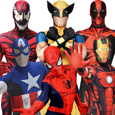 Morphsuit Marvel Superhelden Kostüm Deadpool Spiderman Captain America Iron Man