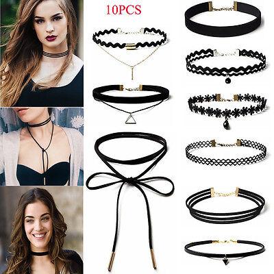 10Pcs/Pack Women's Gothic Punk Velvet Tattoo Lace Choker Collar Pendant Necklace