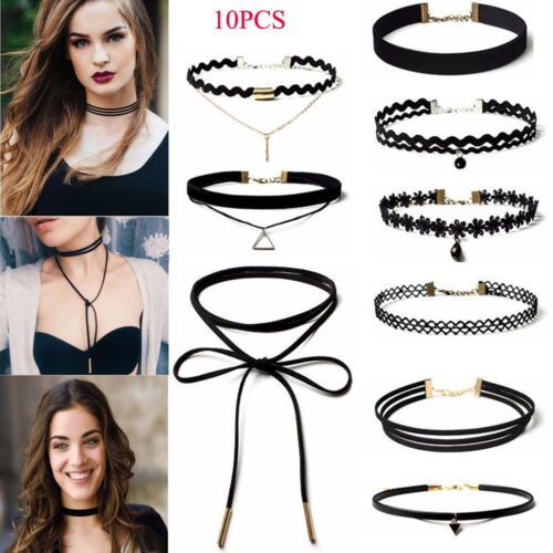 Jewelry - 10Pcs/Pack Women's Gothic Punk Velvet Tattoo Lace Choker Collar Pendant Necklace