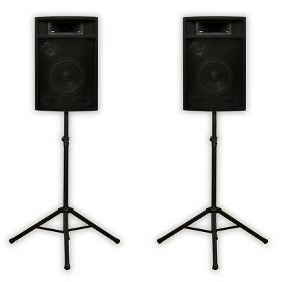 "Acoustic Audio PA-380X Passive 8"" DJ Speakers & Stands PA Karaoke 3-Way Studio"