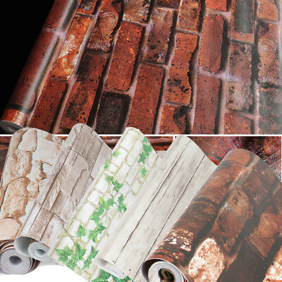 Brick Paper (Peel and Stick Wallpaper Brick Stone Waterproof Wall Paper Bedroom Background)