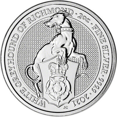 2021 Great Britain Silver Queen's Beasts Greyhound £5 - 2 oz - BU