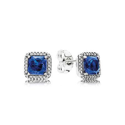 Authentic Pandora S925 Timeless Elegance Stud Earrings TrueBlue 290591NBT w/ BOX Blue Stud Earring Box