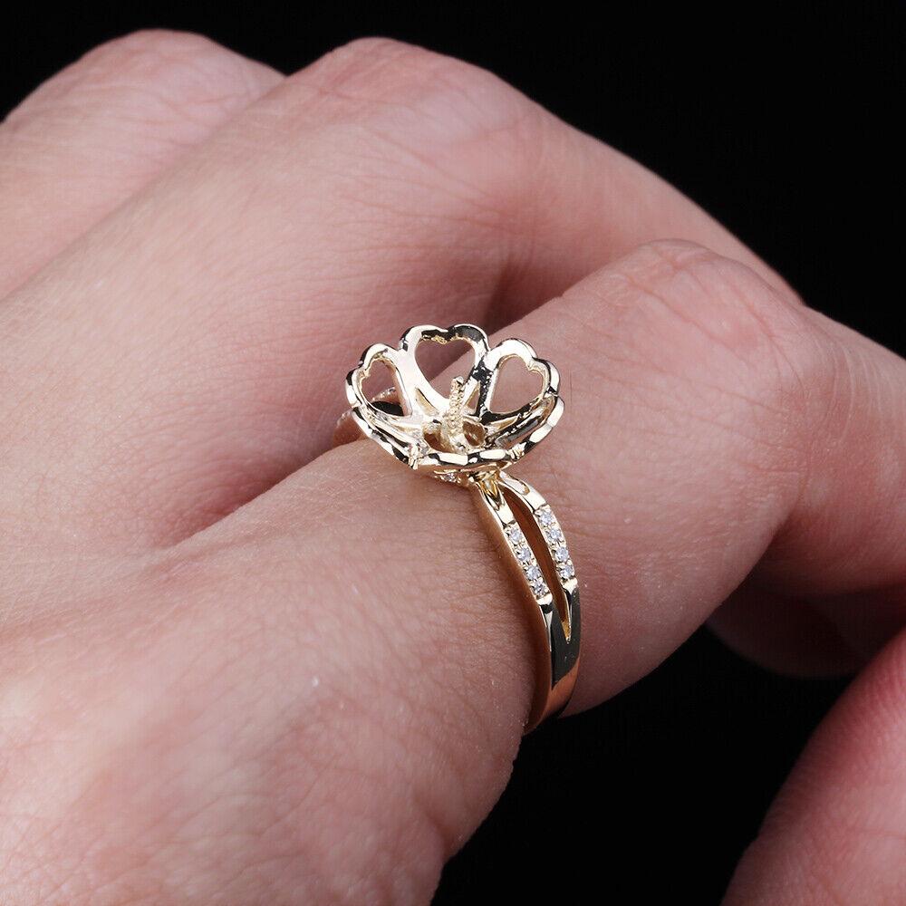 14K Yellow Gold 8-12MM Round Semi Mount Engagement Wedding Ring ...