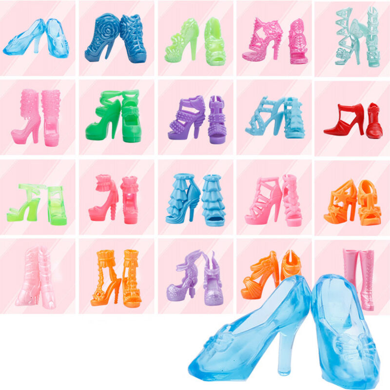 40Pairs/80Pcs Mini Different High Heel Shoes Boot For 29cm Doll Dresses Silicone