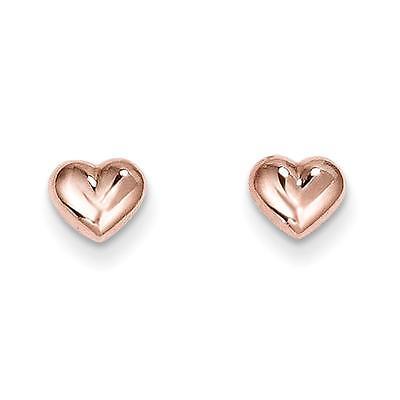14k Childrens Madi k Rose Gold Puffed Heart Post Stud Earrings 6mm x