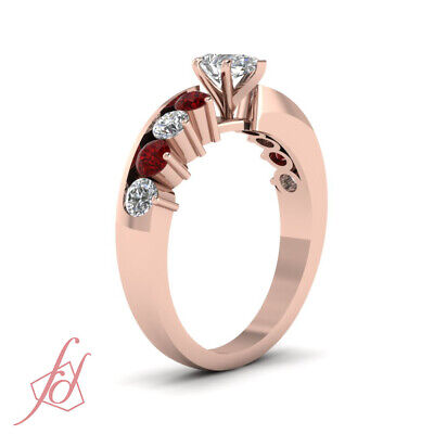 1.70 Ct Ruby & Pear Shaped Diamond Engagement Rings For Her in 14K Rose Gold GIA 2