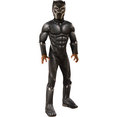 Boys Muscle Chest Deluxe Black Panther Movie Costume - Black Boy Muscle