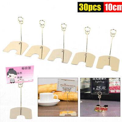 30pcs 10cm Golden Metal Base Wire Photo Holder Stand Card Note Memo Display Clip
