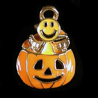 Halloween Pumpkin with Smiley Face Angel Lapel Pin - Smiley Face Pumpkin