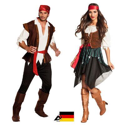 Pirat Kostüm Piratin Komplette Partner Kostüm Damen Herren Fasching TOP - Piraten Kostüm Top