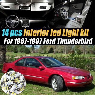 14Pc Car Interior LED Super White Light Bulb Kit for 1987-1997 Ford Thunderbird