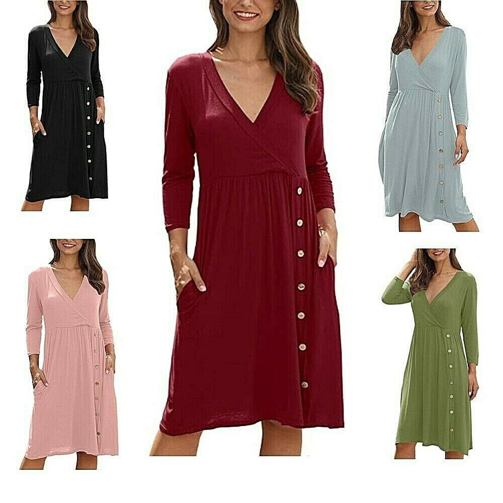 Women's Dress Faux Wrap Button Side Midi with Pockets Dress Fashionable Soft Clothing, Shoes & Accessories
