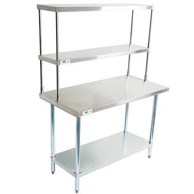 30 X 48 Stainless Steel Work Prep Table Double Over Shelf Overshelf Commercial
