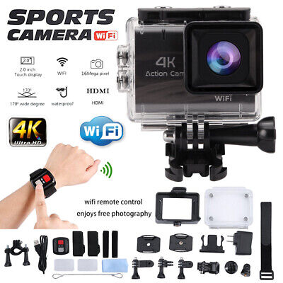 Action Camera 4K WiFi Ultra HD Sports Cam Waterproof 170° Remote Control WF