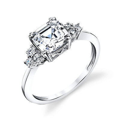 Asscher Cubic Zirconia Ring - Sterling Silver Bridal Asscher Cut CZ Engagement Wedding Ring Cubic Zirconia