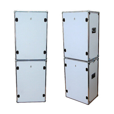 Photo Booth Set  - 2 ATA Style Cases w/Wheels - 'Do It Yourself' Cutouts - White - Photo Booth Do It Yourself