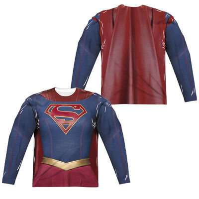 Justice League Movie SUPERGIRL UNIFORM Costume 2-Sided Long Sleeve Poly T-Shirt