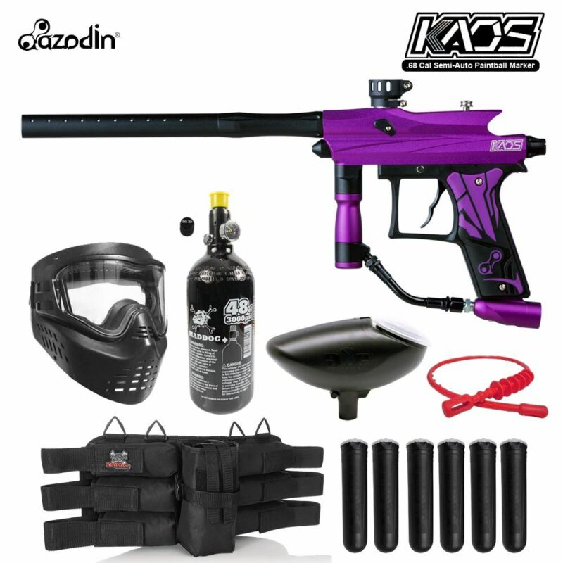 Maddog Azodin Kaos 3 Titanium HPA Paintball Gun Marker Starter Package Purple