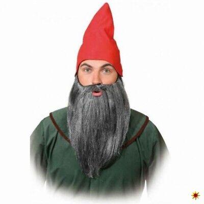 Zwergen Bart glatt, grau-meliert Kostüm Zubehör Fasching Märchen Zwerg