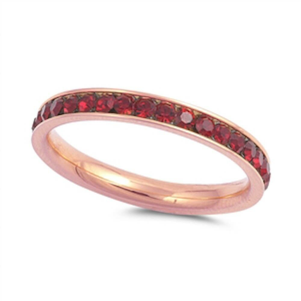 Garnet Ring Bands: Rose Gold Garnet Eternity Band Stainless Steel Ring Sizes