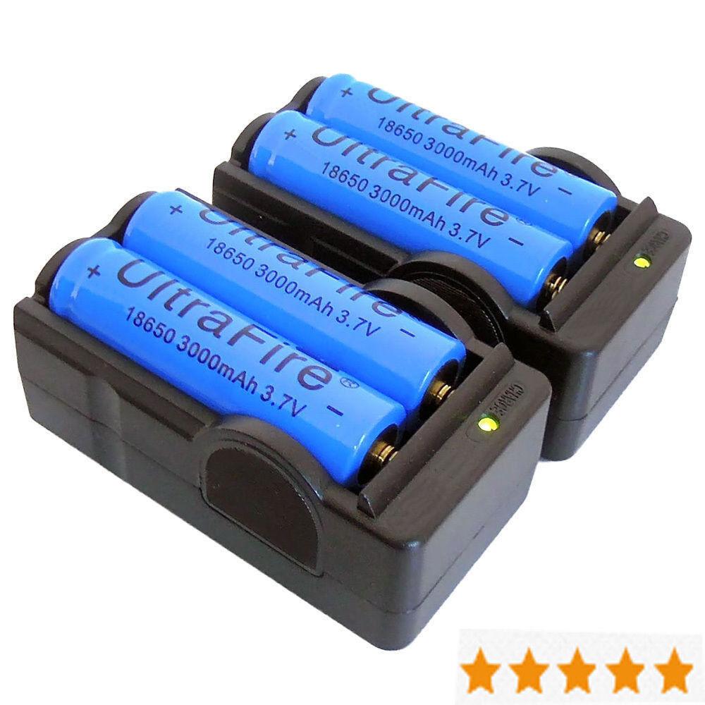 4PCS 3200mAh 3.7V 18650 Battery +2PCS Dual Charger for Headlamp Flashlight Torch