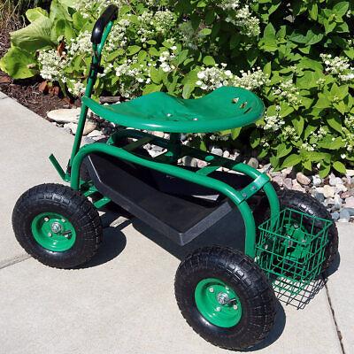 Sunnydaze Rolling Garden Cart w/ Extendable Steering Handle Seat & Basket -Green